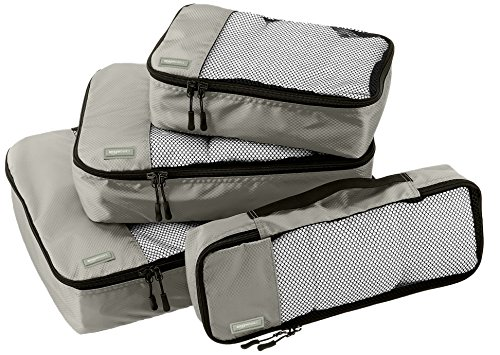 AmazonBasics 4-Piece Packing Cube Set - Small, Medium, Large, and Slim, Gray (Packing Made Simple compare prices)