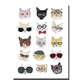 Cats with Glasses by Hanna Melin Premium Gallery-Wrapped Canvas Giclee Art (Ready-to-Hang)