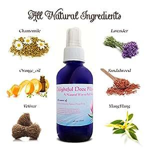 Delightful Doze Pillow Spray - Sleep Better Tonight - 100 % High Quality Essential Oils- 4 Oz.- Spray for a deep sleep - Lavender Pillow Spray