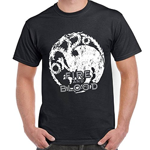 T-Shirt Scura Uomo Con Stampa Game of Thrones Fire And Blood House Targaryen, Colore: Nero, Taglia: S