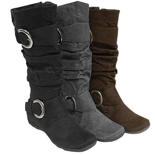 Women's Anne Michelle by Journee Slouch Boots with Buckles