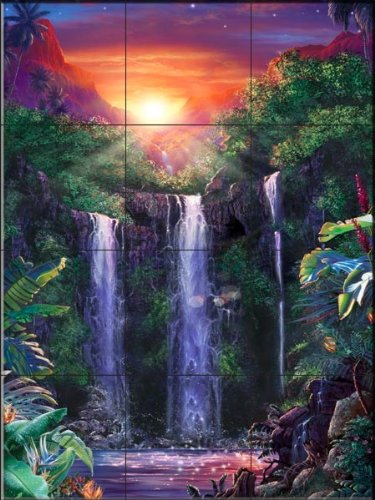 Crystal Falls III by Christian Riese Lassen - Kitchen Backsplash / Bathroom Wall Tile Mural