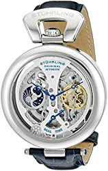 Stuhrling Original Special Reserve Emperor's Grandeur Mens Designer Watch - Analog Dual Time Blue Leather Wrist Watch for Men - Stainless Steel Skeleton Dial Automatic Watch 127A.3315C2