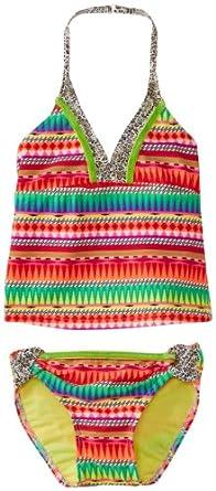 Gossip Girl Big Girls'  Tribal Stripe Tankini Swimsuit, Multi, 8