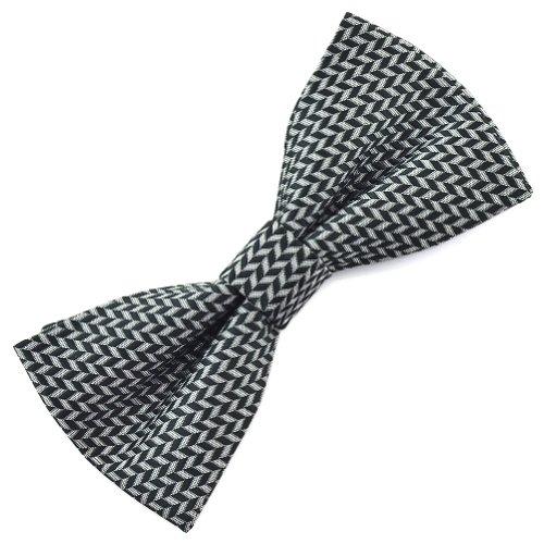 Pensee Mens Silk Black Grey Plaids Pre-Tied Bow Ties