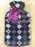 HOT WATER BOTTLE WITH COVER 2L LARGE 2 LITRE BS STANDARD FREE P&P (Black Lattices)