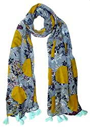 Craftshub Stylish Printed Multicoloured Holiday Stole Scarf with Tassels