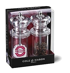 Cole & Mason H50518P Precision 505 Acrylic Salt and Pepper Mill Gift Set, Transparent