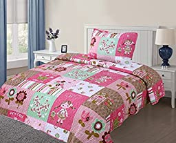 GorgeousHome **Different Cute Girly Designs/Colors** Kids Twin 2-Piece Soft Printed Quilt Coverlet Bedspread Pillow Case Bed Bedding Set For Girls (#10 Dolls Flower)