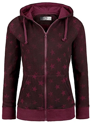 R.E.D. by EMP Star Hoodie Jacket Felpa donna bordeaux S