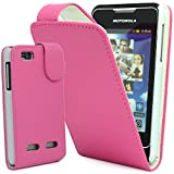 PiNK PU LEATHER FLIP CASE COVER POUCH FOR MOTOROLA MOTOSMART / MOTOLUXE / XT389 / XT390 by Top Accessories for Smart Phones