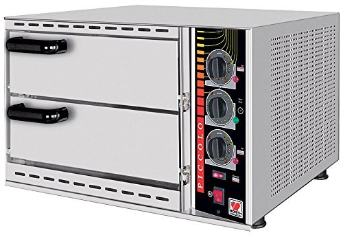 North Pro Gas SPM 48 Commercial Electric Twin Deck Pizza Oven with Fire Resistant Plate - 1+1 pizza Ø360mm (230V-AC-50Hz) (Made in Greece)