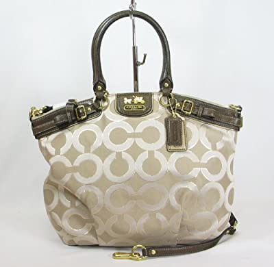 Best Cheap Deal for Coach Madison Op Art Signature Lurex Lindsey Satchel Bag 18635 Khaki from Coach - Free 2 Day Shipping Available