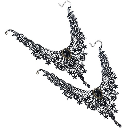 areke-gothic-lace-lolita-beads-pendant-choker-necklace-for-women-tassels-collar-black-style-2-pcs