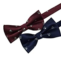 AINOW Mens Pre-tied Handmade Bowties Skull Pattern Navy Burgundy Bow Ties