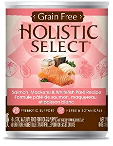 Holistic Select Grain Free Salmon, Mackerel and Whitefish Dog Food, 12-Pack of 13-Ounce Can