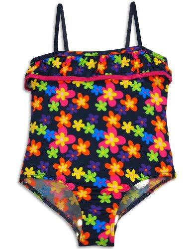 Pink Platinum - Little Girls' One Piece Floral Swimsuit, Navy, Multi 29666-10/12