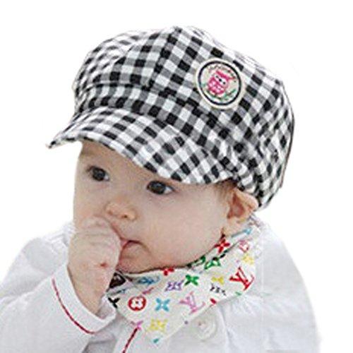 黒と白 - かわいいフクロウのラベルデザインとTopTieベビータータン野球帽ベレー帽