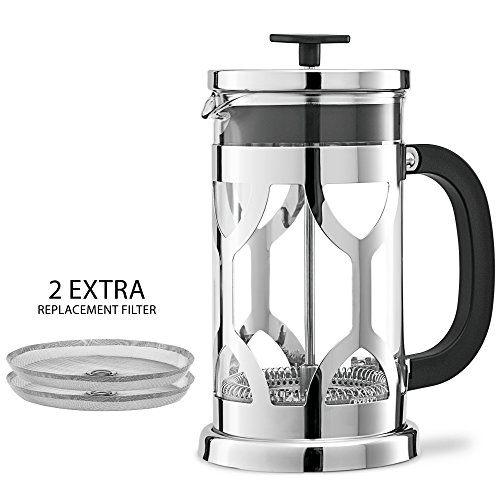 Chefs-Star-French-Press-34oz-Coffee-MakerHi-Qualty-Stainless-Steel-Frame-Pyrex-Glass-2-Bonus-Screen-Filters