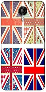 Snoogg 4 Cute British Flags In Shabby Chic Floral And Vintage Style Designer Protective Back Case Cover For Micromax Canvas Nitro 3 E455