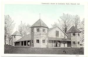 1940s Vintage Postcard Community House at Callaway Park - Elwood Indiana