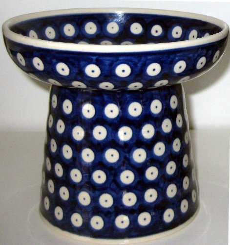 Polish Pottery Raised Food Dish or Water Bowl - Classic Dots