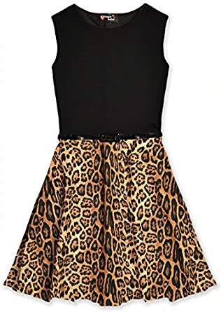 Girls animal print skater dress kids party dresses new amazon co uk