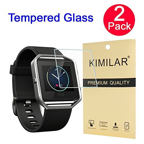 Fitbit Blaze Screen Protector, 2 Packs KIMILAR Premium HD Clear Tempered Glass with Free Lifetime Replacement Warranty / Ultra High...
