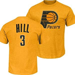 Indiana Pacers NBA George Hill #3 Tri-Blend Name & Number T-Shirt M by Majestic Threads