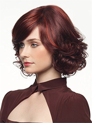 [Short Wavy Lace Front Synthetic Celebrity Style Wigs for Women Red Wine] (Hollywood Celebrities Halloween Costumes)