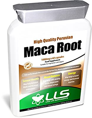 LLS High Strength Maca Root | Direct from Peru | 1000mg x 60 Capsules | Produced in the UK under GMP Certification