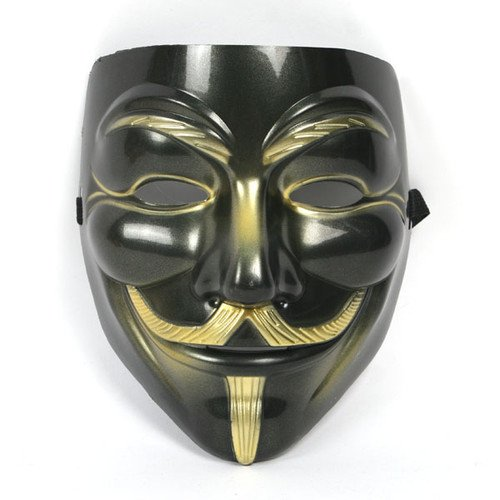 VIP版 V for Vendetta Mask / アノニマス/ガイ・フォークス 仮面 マスク ブラック&ゴールド