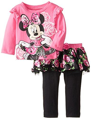 Disney Baby Baby-Girls Infant Disney'S Minnie Girl Skegging Set, Pink/Black, 12 Months front-761423