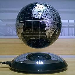 YiaMia Mova Levitation Magnetic Suspension Globe with World Globe Map, Magnetic Rotating Globe Anti-Gravity for Office Decoration--Black