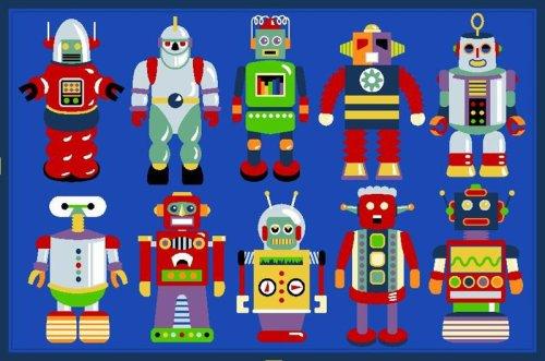 Robots Rug OLIVE KIDS 19 x 29 Rug
