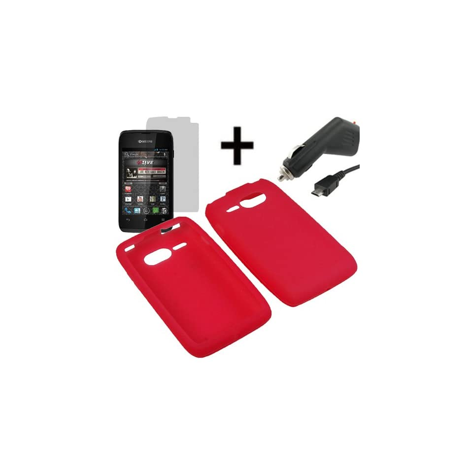 AM Silicone Sleeve Gel Cover Skin Case for Virgin Mobile Kyocera Event C5133 + LCD + Car Charger Red
