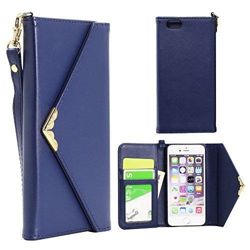 Custodie a portafoglio, in pelle sintetica, con supporto, motivo busta, reversibile, con chiusura magnetica e [] con garanzia a vita per Apple iPhone 6 (2014)/6S (2015), Similpelle, Blu - blu, iphone6s Blue