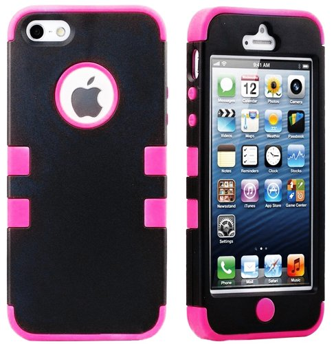 Mylife (Tm) Hot Pink - Black Flat Matte Series (Neo Hypergrip Flex Gel) 3 Piece Case For Iphone 5/5S (5G) 5Th Generation Itouch Smartphone By Apple (External 2 Piece Fitted On Hard Rubberized Plates + Internal Soft Silicone Easy Grip Bumper Gel + Lifetime