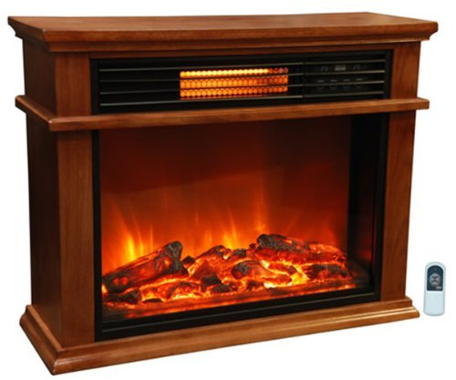 Lifesmart  Overwhelmingly Room Infrared Quartz Fireplace in Burnished Oak Finish w/Remote
