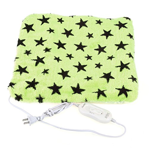 Pet Dog Cat Electric Heating Heater Mat Pad Bed Blanket Stars Pattern Green Warm
