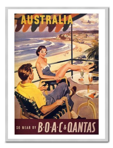 australia-quantas-air-travel-poster-print-magnetic-memo-board-silver-framed-41-x-31-cms-approx-16-x-