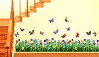 StickersKart Wall Stickers Walking in the Garden Flower Border Design (Wall Covering Area: 135cm x 35cm)