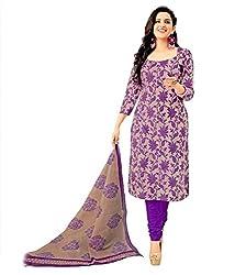 Sanjana Women's Purple Cotton Unstitch Embroidered Designer Dress Material (SC8703_Free Size_Purple)