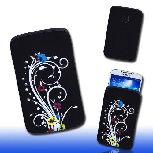 Handy Tasche schwarz/bunt E7-2 für Samsung C3312 Rex60 / S5222R Rex80 / Galaxy Young S6310 / Galaxy Young Duos S6312 / Galaxy Pocket Plus S5301 / Samsung Galaxy Pocket Neo S5310 / Alcatel OT 903D / Alcatel OT Star 6010D
