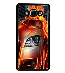 PrintDhaba Burning Car D-2044 Back Case Cover for SAMSUNG GALAXY A7 (Multi-Coloured)
