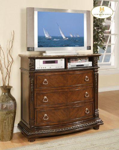 Tv Media Chest With Marble Top In Rich Brown Finish