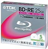 TDK 録画用ブルーレイディスク BD-RE 25GB 2倍速 ホワイトワイドプリンタブル 5枚パック BEV25PWA5K
