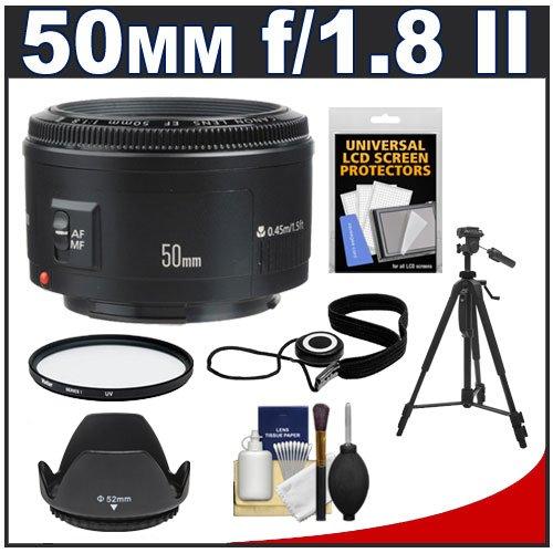 Canon Ef 50Mm F/1.8 Ii Lens + Uv Filter + Es-62 Lens Hood + Tripod + Accessory Kit For Eos 6D, 70D, 5D Mark Ii Iii, Rebel T3, T3I, T4I, T5, T5I, Sl1 Dslr Cameras