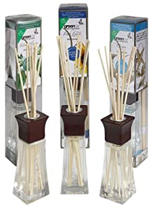 Greenair All Natural Reed Diffuser Set of 3, Ocean, Jasmine and Fresh Linen, 6.6-Ounce