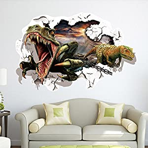 EMIRACLEZE Christmas Gift Holiday Shopping Hot Sale Christmas Gift 3d Dinosaur Removable Mural Wall Stickers Wall Decal for Kids Children Room Home Decor